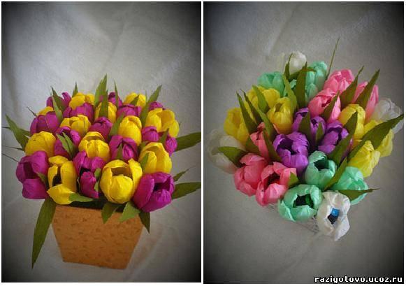 Крокусы из конфет из гофрированной бумаги своими руками